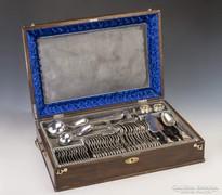 Ezüst 12 személyes, hegedű fazonú étkészlet