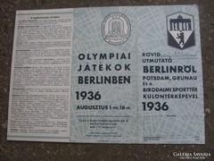 A berlini olimpia 1936-os város térképe és