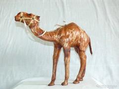 Fa, bőr teve, bőrrel bevont, álló szobor, 30 cm