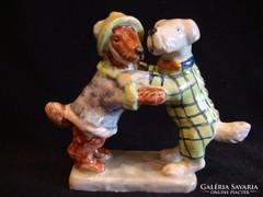 Táncoló kutyák jelzett kerámia szobor