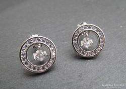 Kerek beszúrós ezüst fülbevaló - stekker - sok kővel új