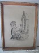 Antik fali kép eladó! Imádkozó kisfiú.