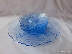 Nagyon szép kék üveg süteményes, kompótos készlet