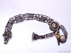 Antik ezüst mellény lánc,órakulccsal,szelencével...