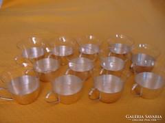 12 db-os alpakka-ezüstözött-üveg teás, kávés, bólés készlet