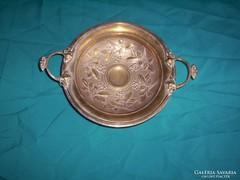 Antik szeceszios ezüstözött réz tál