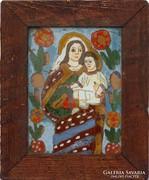 0H901 Antik erdélyi üveg ikon : Mária és kis Jézus