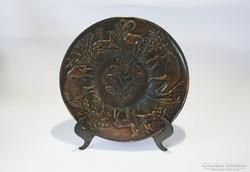 Rácz Edit bronz tál vadász témájú fali tál vadászoknak