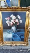 Murin Vilmos / Rózsacsendélet csíkos vázában