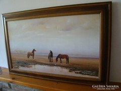 """Oszter Dezső """"lovak"""" zsűrizett olajfestmény"""
