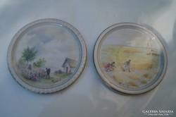 Zsolnay 2 db miniatűr jelenetes tálka 1920 körül
