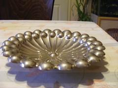 Napraforgó formájú, csinos alpakka kínáló tál, asztalközép