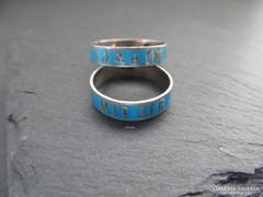 Ritka antik ezüst gyűrűk - zománcolt