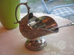 Csodaszép ezüstözött cukortartó kanalával most ajándékkal