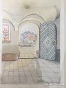 Kitárt ajtó, akvarell és rajz