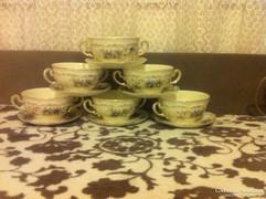 Zsolnay búzavirág mintás leveses csésze szett