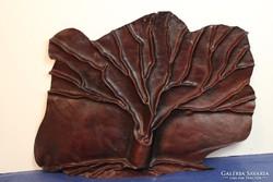 Művészi bőr falikép, fali bőrplasztika