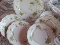 Szecessziós porcelán süteményes készlet