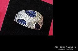 Ezüst gyűrű  csodálatos valódi zafírokkal, topázokkal
