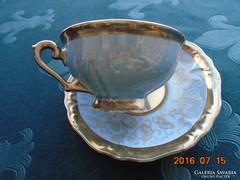 Ezüstvirágos királykék-teás csésze+alja-Waldershof-3