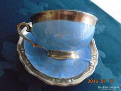 Ezüstvirágos királykék-teás csésze+alja-Waldershof-4