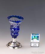 Ezüst talpas kék kristályváza