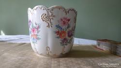 Hollóházi  kézi festésű régi porcelán kaspó