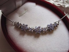 Kifinomult nőies, tanzanit köves 925 ezüst collier nyaklánc