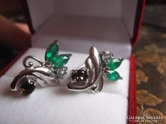 Smaragd, füstkvarc és akvamarin ezüst fülbevaló 925