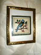 Antik  fa  képkeret üveggel  gobelin képpel 26 X 21,5