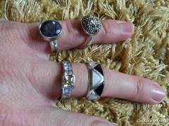 Különböző köves, gyöngyházas, markazitos ezüst gyűrűk