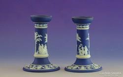 0I415 Jelzett Wedgwood porcelán gyertyatartó pár