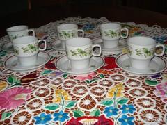 Hollóházi 6 db. kávés csésze és alj