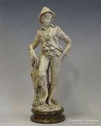0I188 Nagyméretű alabástrom fiú szobor esernyővel