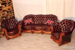 Gyönyörű barokk,eredeti Chesterfield bőr ülőgarnitúra