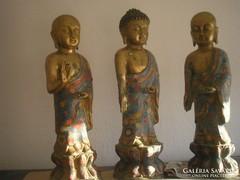 Antik bronz aranyozott Buddha 3 +6 kis buddhák