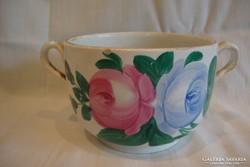 Antik alul is festett rózsás kétfülű csésze