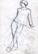 Álló figura szén rajz