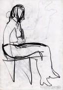 Ülő figura szén rajz