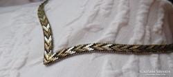 Meseszép bicolor lamellás aranyozott ezüst nyakék
