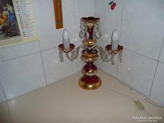 Cseh bohemia asztali állólámpa, Bohemia üveg lámpa,Ritka