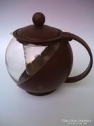 Teáskanna hőálló üvegből,szűrővel