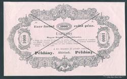 1000 Forint ( Gulden ) Almássy 1849 UNC Pédány ( Minta)