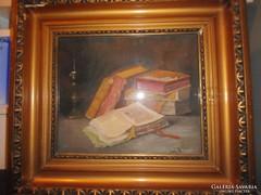 Lakos Alfréd (1870- 1961) Csendélet könyvekkel festmény.