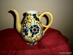 Szecessziós kézzel festett porcelán teás kancsó