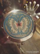 Pillangós,tűzzománc, tükrös szelence