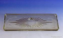 0I508 Régi vastagfalú üvegtálca kínáló tál