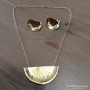 Aranyozott ezüst nyaklánc fülbevalóval