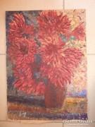 Virágcsendélet vörös dáliákkal,olaj-karton jelzéssel