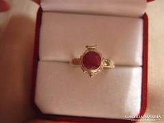 Ritkaság! Antik ezüst filigrán rubin méreggyűrű